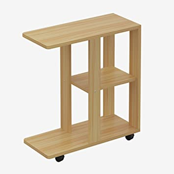 D L Wood Waterproof Side Table C Shape With Wheels Sofa Table