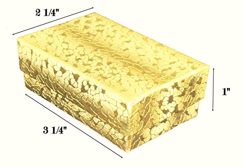 "Foil Jewelry Gift Boxes - 888 Display USA Gold Foil Jewelry Gift Box with Removable Cotton Pad 3 ¼"" x 2 ¼"" x 1"" (Pack of 20)"