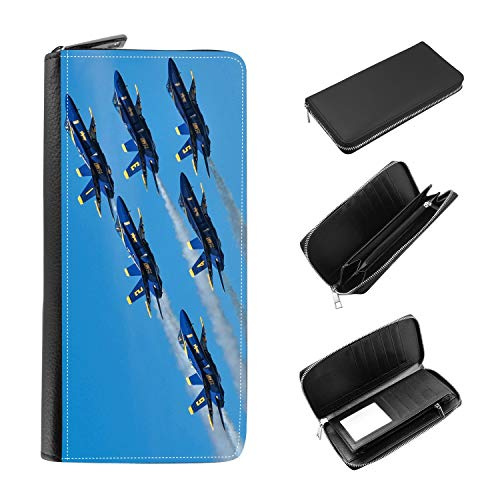 Women's Zip Around Wallet and Phone Clutch - RFID Blocking with Card Holder Organizer - Navy Blue Angels F/A18 Super Hornet Fighter ()