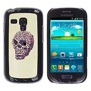 Caucho caso de Shell duro de la cubierta de accesorios de protección BY RAYDREAMMM - Samsung Galaxy S3 MINI 8190 - Cráneo del rosa del arte pop