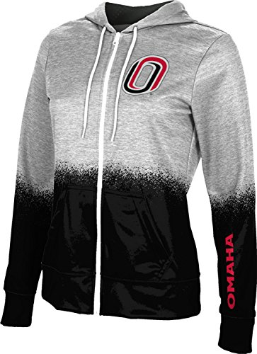 ProSphere University of Nebraska at Omaha Girls' Zipper Hoodie, School Spirit Sweatshirt (Spray Over) FEC81 White and Black