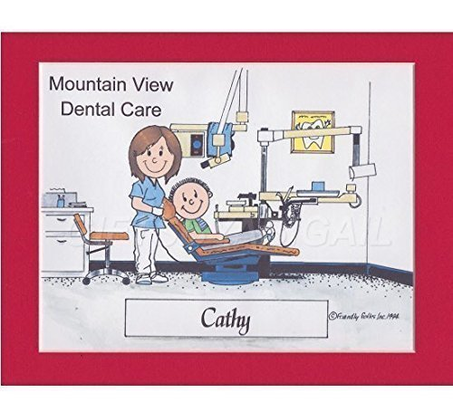 Dental Assistant Personalized Gift Custom Cartoon Print 8x10, 9x12 Magnet or Keychain by giftsbyabigail