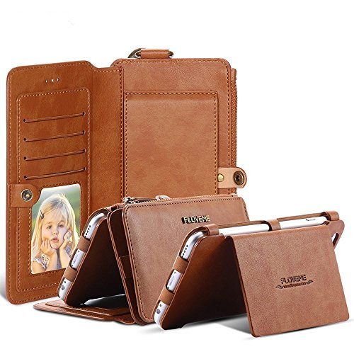 8cae7e4717d FLOVEME Vintage Wallet Case for iPhone 8 Plus, 2 in 1 PU Leather Zipper  Multi-functional Handbag Removable Magnetic Kickstand Cover Flip 18 Card  Slots ...