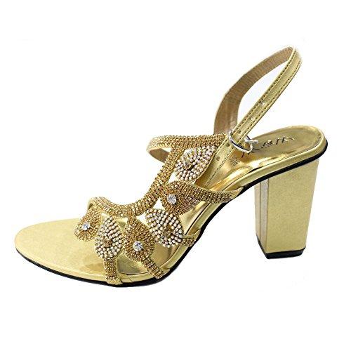 W Señoras Sandalias Hecho Zapatos Mujeres Mano Confort a Tamaño Moda de de UK Boda Walk Novia Diamante Noche Wear amp; W amp; nbsp; 4 qw8ttT