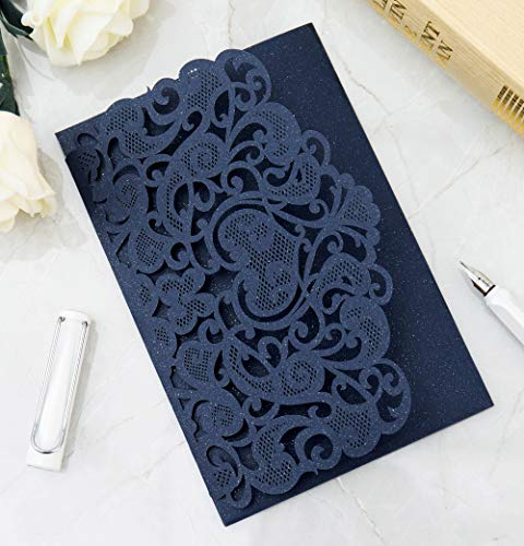 (25PCS Laser Cut Invitations, 4.9''x 7'' Wedding Invitations with Blank Paper + Envelopes for Wedding Bridal Shower Anniversary Birthday Party (Navy)