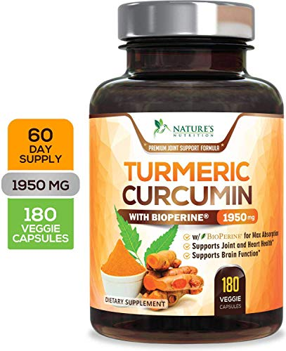 Turmeric Curcumin Max Potency 95% Curcuminoids 1950mg with Bioperine Black Pepper for Best Absorption, Anti-Inflammatory Joint Relief, Turmeric Supplement Pills by Natures Nutrition - 180 Capsules ()