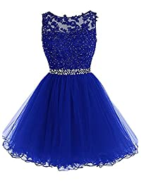 ynqnfs Beaded Applique Short Prom Homecoming Dresses Tulle Party Evening Gowns