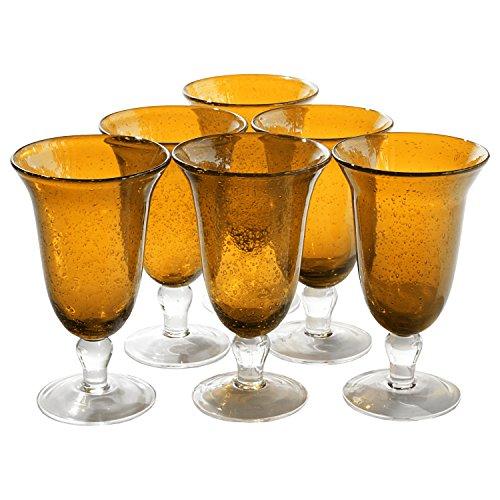 (Artland Iris Seeded Amber 18 Ounce Footed Iced Tea Glass, Set of 6 )