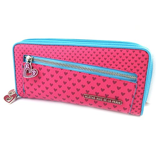 Wallet zipped 'Agatha Ruiz De La Prada'fuchsia blue - little hearts (l).