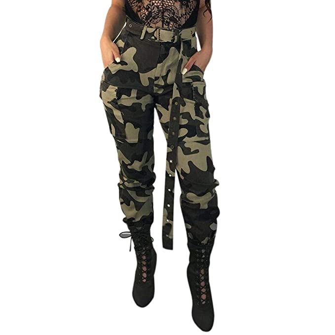 8a7a14a17b23d ADESHOP Women Stretch Bootleg Trousers, Womens Camo Cargo Trousers Casual  Pants Military Army Combat Camouflage