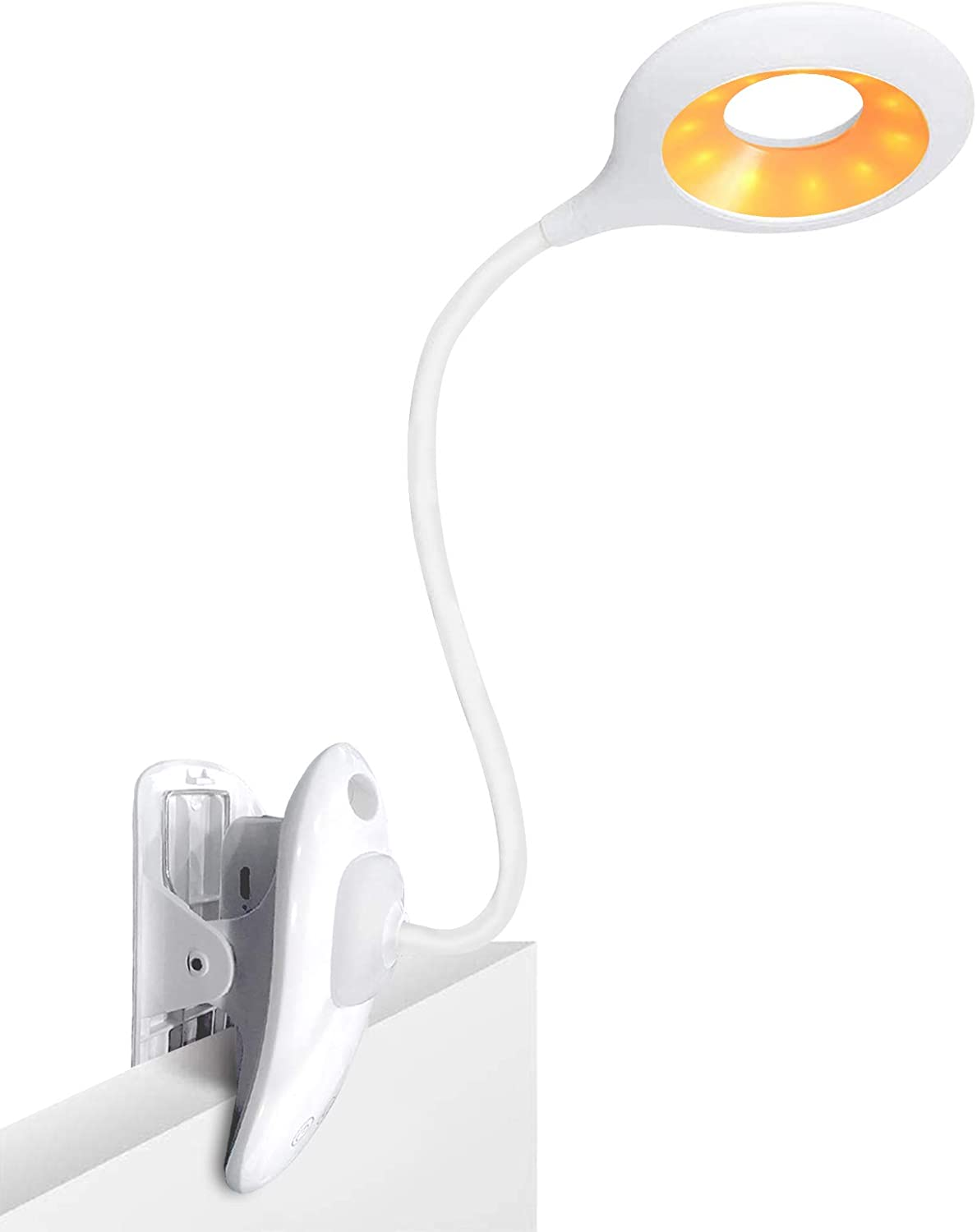 Luxvista Clip On Reading Light, USB Rechargeable 26 LEDs Eye-Care Amber Book Light 3 Levels x 3 Brightness Clip On Light Touch Control Clip Desk Lamp, Flexible 360° Clip Light for Home Bed headboard