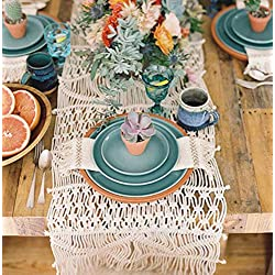 "Flber Macrame Table Runners Handwoven Boho Wedding Table Decoration Bedding Blanket,13.8""x 118"""