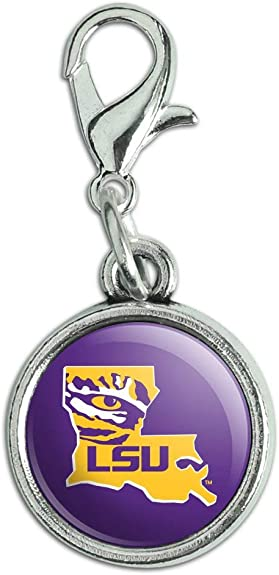 GRAPHICS /& MORE LSU Tiger Eye on Yellow Antiqued Bracelet Pendant Zipper Pull Charm with Lobster Clasp