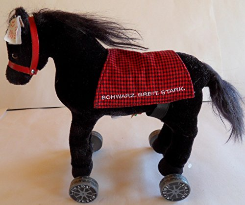 Steiff Horse, Fulda Horse, on Wheels, Special.ed. w.Button/Flag, EAN 996122, Germany 1090