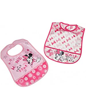 Minnie Mouse 2 Piece Printed Frosted Water Proof Peva Bib, Crumb Catcher Pocket