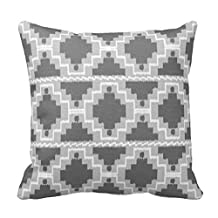 Soft Flannel Decorative Throw Pillow Covers Ikat Aztec Tribal - Dark and light Grey / Gray Couch Cushion Covers 22X22