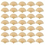 Wobe 60 Pack Sandalwood Fans- Baby Shower Gifts & Wedding Favors, Hand Held
