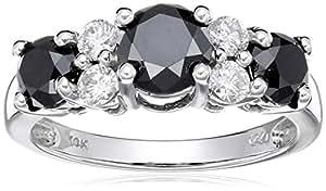 10k White Gold Black and White Diamond Ring (2 cttw, H-I Color, I2-I3 Clarity), Size 5