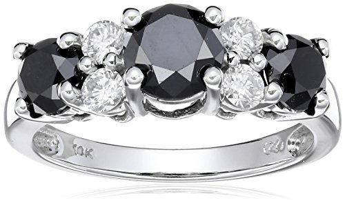 10k White Gold Black and White Diamond Ring ( 2 cttw, I Color, I2-I3 Clarity), Size 7