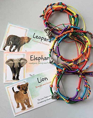 Smiling Wisdom - Totem Spirit Animal Elephant, Leopard, Lion - 3 Long Colored Friendship Bracelet Gift Set - Great Gift for Children, Tweens, Teens - 3 Complete Gifts - (Animal Totems Elephant)