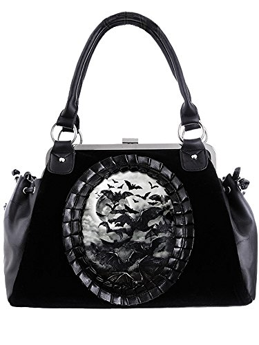 Restyle Gothic Vamp Flying Bats Black Velvet Cameo Kiss Lock Handbag - Cameo Kiss