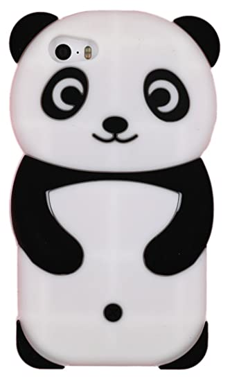 brand new 8f893 96d7a Iphone SE Case, Iphone 5s Case, Iphone 5 Case, Cute Cartoon 3D Adorable  Lovely Creative Panda Soft Silicone Gel Rubber Protective Cover Case for ...