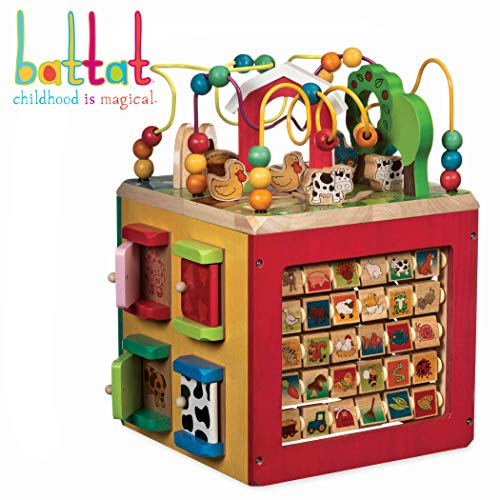 Battat - Wooden Activity Cube - Discover Farm Animals Activity Center for Kids 1 year -