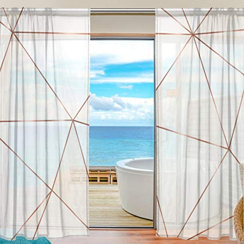 MAHU Sheer Curtains Geometric Rose Gold Lines Window Voile Curtain Drapes for Living Room Bedroom Kitchen Home Decor 55x78 inches, 2 Panels