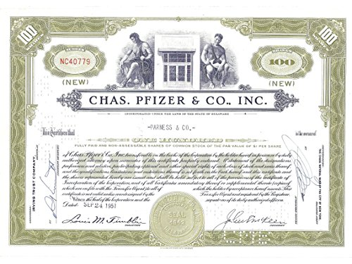 (1951 Vintage Stock Certificate 100 Shares Chas. Pfizer & Co., Inc. Canceled)
