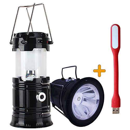 ZLXING Solar Lantern Portable Collapsible Rechargeable for Outdoor Camping Hiking Emergency,3 Colors (Black)