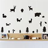DCTOP Trees Woodland Animals Wall Decor Sticker Forest Deer Fox Wall Decals Nursery Vinyl Wall Stickers Kids Bedroom Baby Room Decor