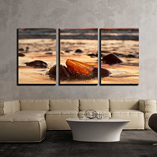 - wall26 - 3 Piece Canvas Wall Art - Amber Stone on The Beach at Sunset. Precious Gem, Treasure Concept. Baltic Sea, Poland. - Modern Home Decor Stretched and Framed Ready to Hang - 24