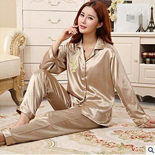 6a4a53ec7d Image Unavailable. Image not available for. Color  MH-RITA Ladies Pyjamas  Satin Nightwear Long Sleeve Autumn Winter New Silk Pijama Fashion Pajamas