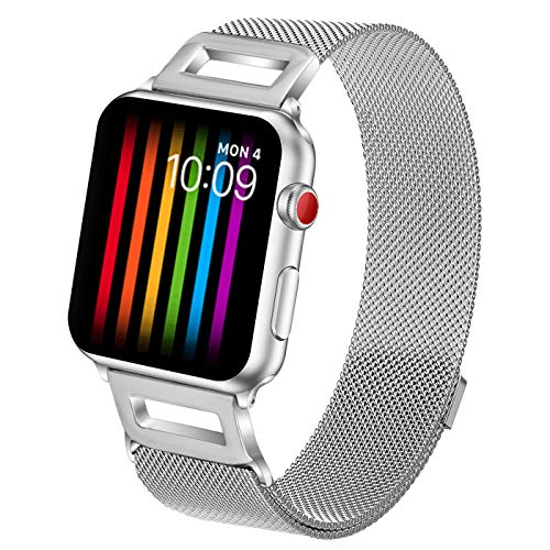 Amzelas Compatible Bands Replacement for Apple Watch Series 4 3 2 1 38mm 40mm 42mm 44mm, Milanese Loop Sport Straps with Magnetic Closure for iWatch Wristbands All Models (Silver, 38mm/40mm)
