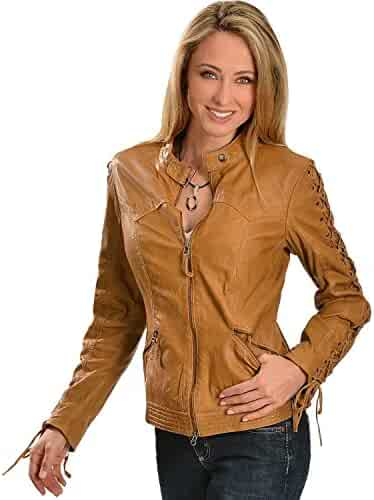 94dc10e83eb07 Scully Women s Leather Laced Sleeve Jacket