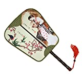 Elegant Silk Fabric Hand Fan Chinese Fan Print Decor Wood Handle, No.8