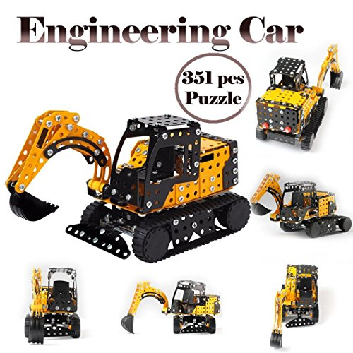 Gbell Boys Engineer Assemble Car Set,351 Pcs 3D Puzzle Kid Toy STEM Education Birthday Gift Toy for Boys 5-12 Years Old ()