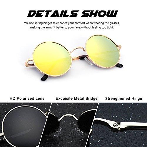 CGID E01 lunettes de soleil polarisées inspirées du style retro vintage Lennon en cercle métallique rond 51MM Or Orange