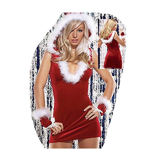 Kinghard Women Christmas Red Santa Claus Velvet Costume Outfit Fancy Xmas Dress (Naughty Santa Helper Outfits)
