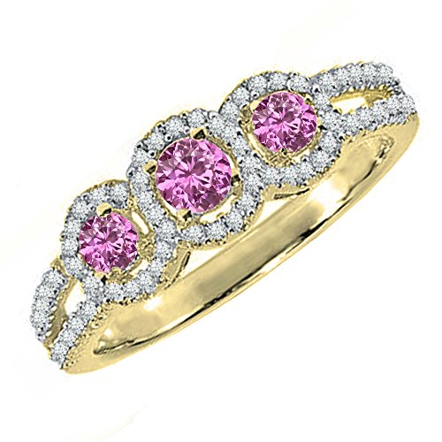14K Yellow Gold Round Pink Sapphire & White Diamond 3 Stone Split Shank Engagement Ring (Size 7) 14k Yellow Gold Pink Sapphire