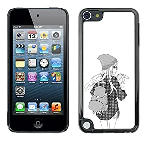 A-type Colorful Printed Hard Protective Back Case Cover Shell Skin for Apple iPod Touch 5 ( Hipster Girl Fashion School Black White )