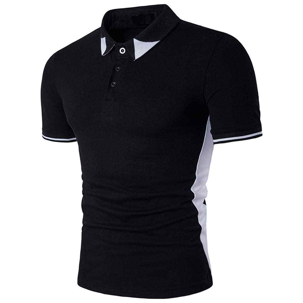 Corriee Mens Black and White Shirts Casual Lapel Short Sleeve Button Up T-Shirt Mens Summer Tops