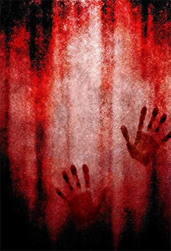 Leyiyi 6.5x10ft Gothic Happy Halloween Backdrop Bloody Hand Print Hell Fire Evil Anger Blood Dead Grunge Board Dark Night Photography Background Horror Costume Carnival Photo Studio Prop Vinyl Banner]()