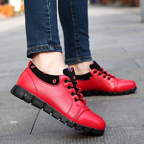 JieLuka Womens Red Lips Leather Belted Round Toe Shoes Fashion Trend Small Shoes