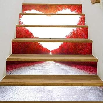 Lizpwq Adhesivo De Escalera 3D Amor Pegatinas Moderno Pegatinas De Pared Dormitorio Sala De Estar Decoración De La Escalera Calcomanías A Prueba De Agua Diy Decoración Del Hogar (100 * 18cm)*6 piezas: