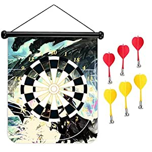 15 inches Magnetic Dart Board Double Sided Hanging Dart Board Set and Bullseye Game! Sword Warrior