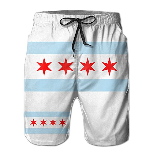 J,CORNER Mens Chicago City Flag USA Summer Quick-drying Swim Trunks Beach Shorts Cargo Shorts - Mens Flag Chicago Shorts
