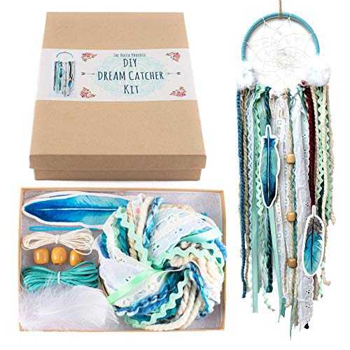 DIY Dream Catcher Kit Birthday Gift Aqua Blue Make Your Own Craft Project]()