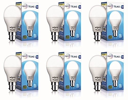 wipro 5W B22 LED Cool Day Light Bulb, Pack of 6,  Tejas
