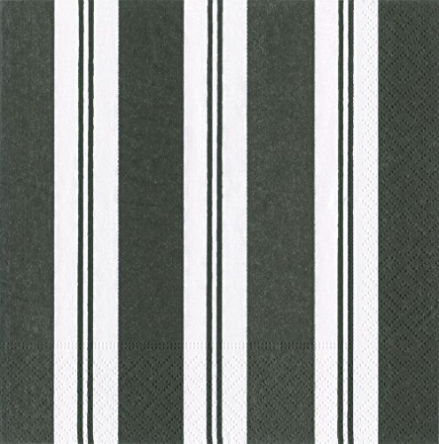 Striped Taper Candles (Entertaining with Caspari Awning Stripe Black and White Paper Luncheon Napkins, Pack of 20)